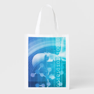 Molecule Background as a Science Abstract Concept Reusable Grocery Bag