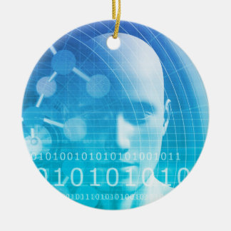 Molecule Background as a Science Abstract Concept Round Ceramic Ornament