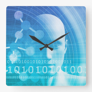 Molecule Background as a Science Abstract Concept Square Wall Clock