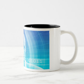 Molecule Background as a Science Abstract Concept Two-Tone Coffee Mug