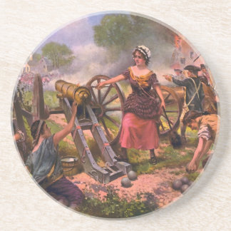 Molly Pitcher Firing Cannon at Battle of Monmouth Coasters