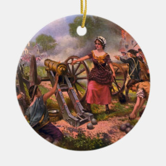 Molly Pitcher Firing Cannon at Battle of Monmouth Round Ceramic Ornament