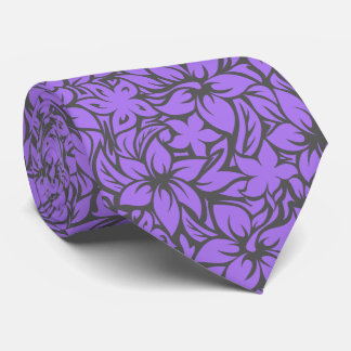 Moloaa Bay Hawaiian Hibiscus Aloha - Gray-Purple Tie