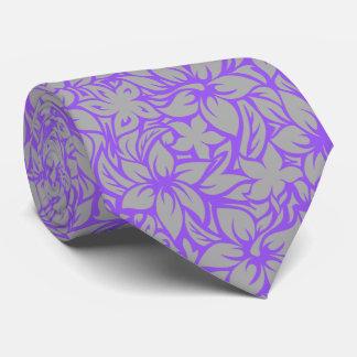 Moloaa Bay Hawaiian Hibiscus Aloha - Silver-Purple Tie