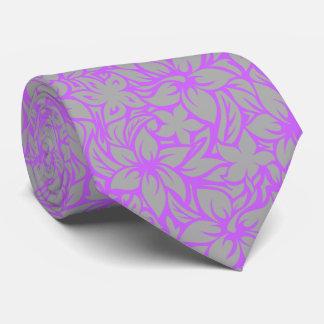 Moloaa Bay Hawaiian Hibiscus Aloha - Silver-Violet Tie
