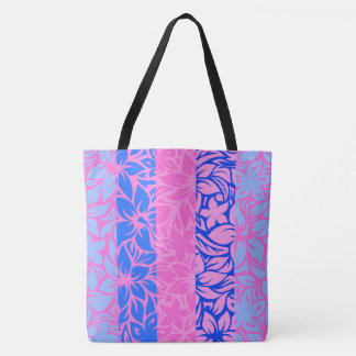 Moloaa Bay Hawaiian Hibiscus Striped Beach Bag