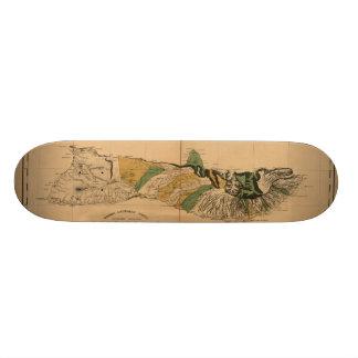 Molokai, 1897, Vintage Hawaii Map Skateboard