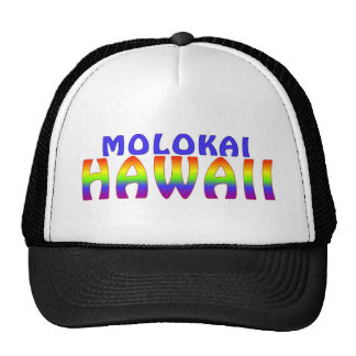 Molokai Hawaii rainbow writing Trucker Hat
