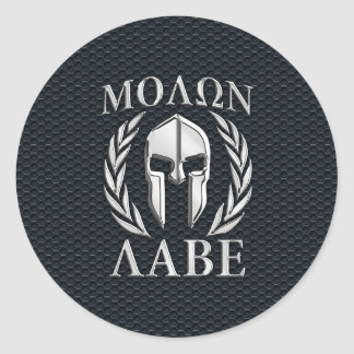 Molon Labe Chrome Like Spartan Helmet on Grille Classic Round Sticker