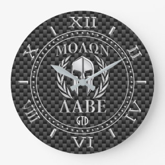 Molon Labe Chrome Style Spartan Armor Monogram Large Clock