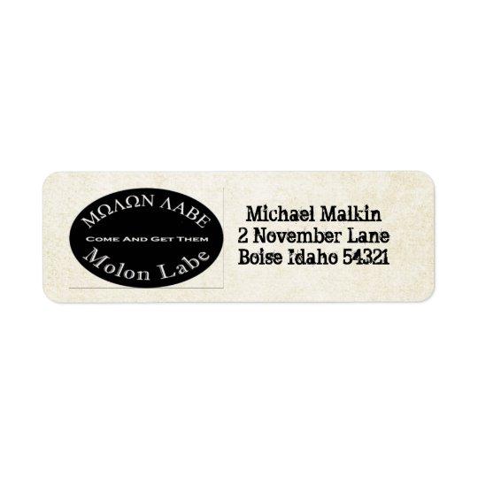 Molon Labe Come and Take Them Quote Return Address Label