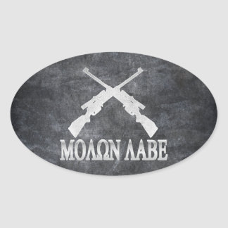 Molon Labe Crossed Rifles 2nd Amendment Oval Sticker