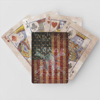 Molon Labe Grunge Bicycle Playing Cards