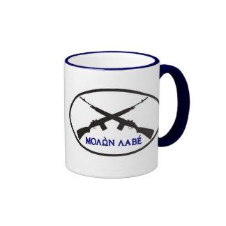Molon Labe in Greek Letters Ringer Coffee Mug