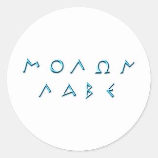 Molon Labe - Light Blue Greek Text Round Sticker