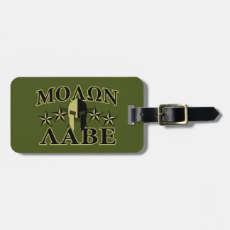Molon Labe Spartan 5 stars Olive Green Luggage Tag