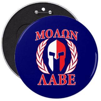 Molon Labe Spartan Armor Laurels Navy Blue 6 Inch Round Button