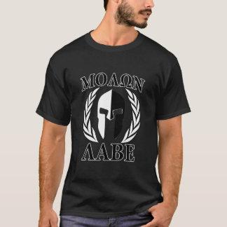 Molon Labe Spartan Helmet Laurels Charcoal T-Shirt