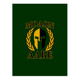 Molon Labe Spartan Laurels Forest Green Decor Postcard