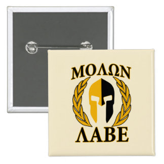Molon Labe Spartan Mask Laurels Beige Decor 2 Inch Square Button