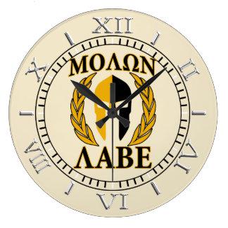 Molon Labe Spartan Mask Laurels Beige Dial Wallclocks