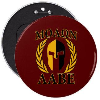 Molon Labe Spartan Mask Laurels Burgundy 6 Inch Round Button