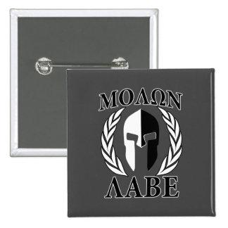 Molon Labe Spartan Mask Laurels Monochrome 2 Inch Square Button