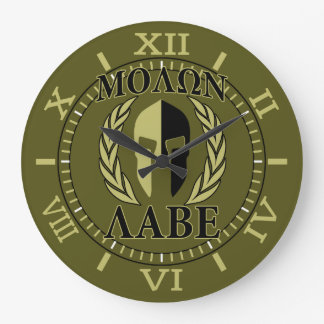 Molon Labe Spartan Mask Laurels Olive Green Dial Large Clock