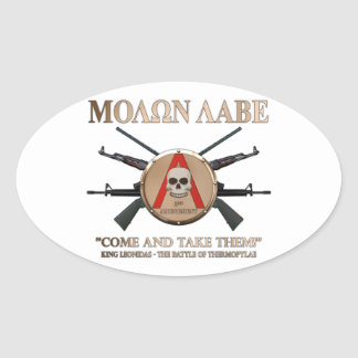 Molon Labe - Spartan Shield Oval Sticker