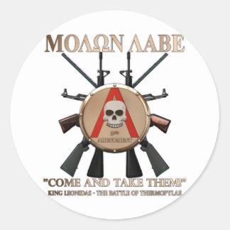 Molon Labe - Spartan Shield Round Sticker