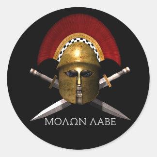 Molon Labe Spartan Skull Classic Round Sticker