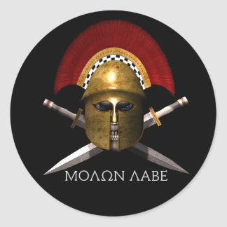 Molon Labe Spartan Skull Round Sticker