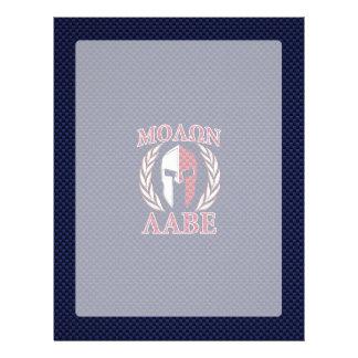 Molon Labe Spartan Warrior Blue Carbon Fiber Print Personalized Letterhead