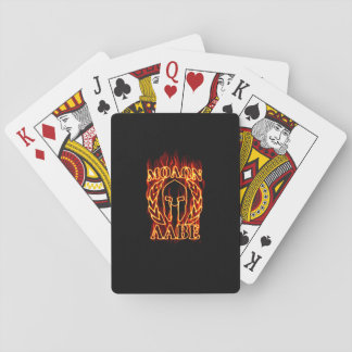 Molon Labe Spartan Warrior in Flames Playing Cards