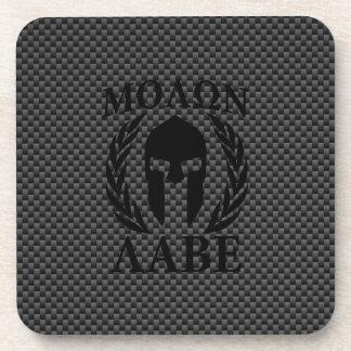 Molon Labe Spartan Warrior Laurels Carbon Style Beverage Coaster