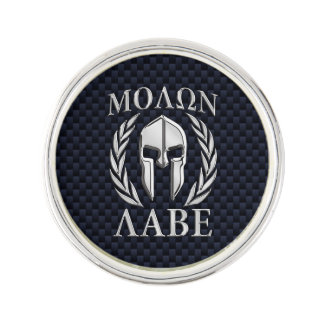 Molon Labe Spartan Warrior Laurels Chrome Print Lapel Pin
