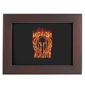Molon Labe Spartan Warrior Laurels on Fire Memory Box