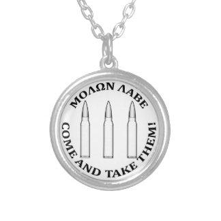 Molon Labe Three Percent Silver Plated Necklace