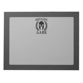 Molon Labe Warrior Laurels on Black Carbon Notepad