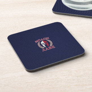 Molon Labe Warrior Mask Blue Carbon Fiber Print Beverage Coaster