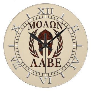 Molon Labe Warrior Mask Laurels Dial Wall Clocks