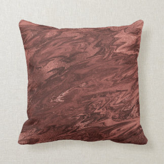 Molten Chocolate Brown Maroon Marble Abstract Throw Pillow