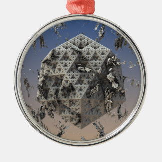 """Molten"" futuristic 3D fractal abstract art Silver-Colored Round Ornament"