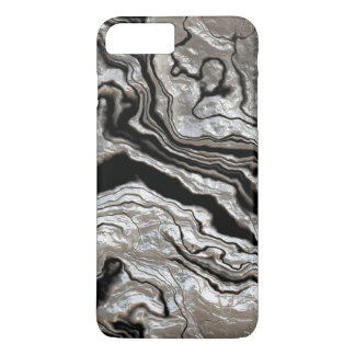 Molten Silver Black Marble Pattern iPhone 7 Plus Case