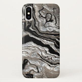 Molten Silver Black Marble Pattern iPhone X Case