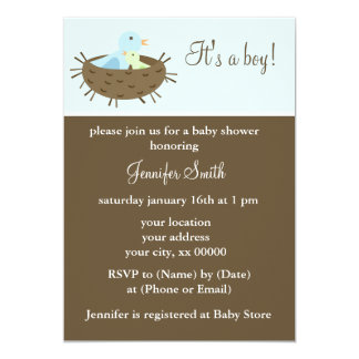 Mom and Baby Birds Boy Baby Shower Card