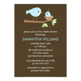 Mom and Baby Birds Boys Baby Shower Card