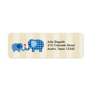 Mom and Baby Blue Elephant Label Return Address Label