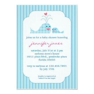 "Mom and Baby Boy Whale 5"" X 7"" Invitation Card"