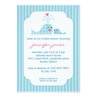 Mom and Baby Boy Whale Invites